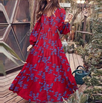 Maxi Dress for Women Plus Size Long Sleeve Print V Neck Puff Sleeve Empire A-Line Big Swing Dresses