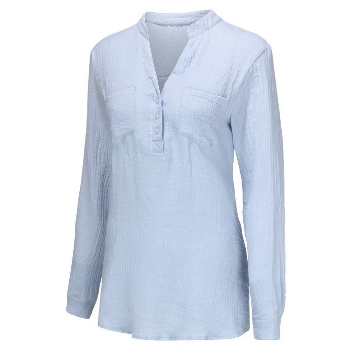 Women Sexy V-Neck Long Sleeve Solid Color Cotton Shirts Casual Plus Size Buttons Pockets Office Lady Bloues Shirt S-3XL