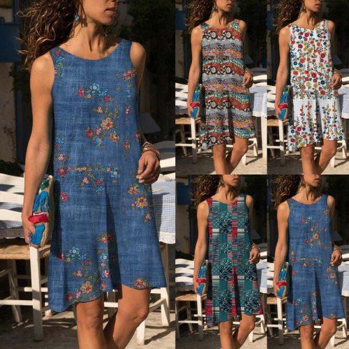 2021 Summer Women's Dress Cotton and Linen Printed OL Commuting Mid Length Female Fashion Dress Vestido De Mujer