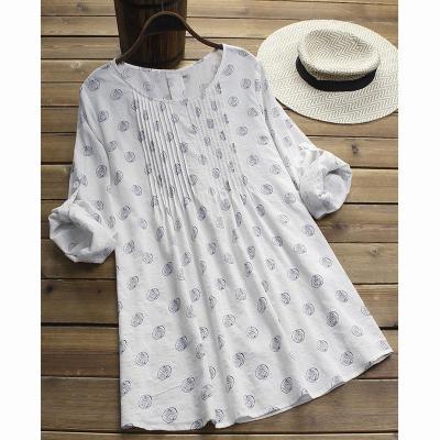 Women Summer Dress Cotton Fashion Printed Loose Long Sleeves Round Collar Large Size Blouse Shirts