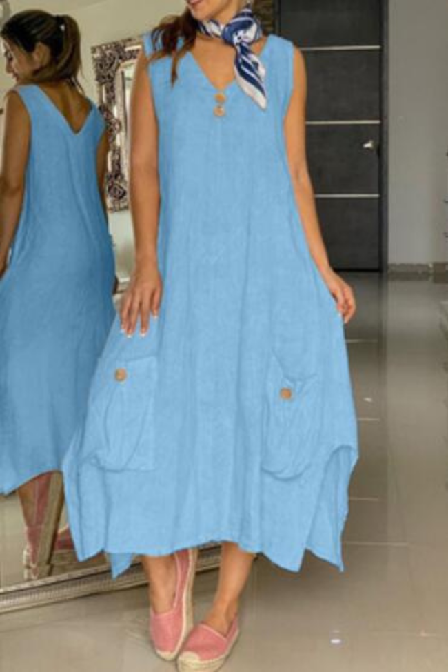 Summer Short Sleeve V-neck Solid Sundress Women Casual Button Cotton Linen Beach Loose Party Midi Dresses FC548
