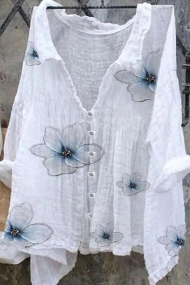 Cotton Linen T Shirts New Women Tops Long Sleeve V- Neck Work Wear Shirts Elegant Lady Casual Shirts women's blusas Plus size