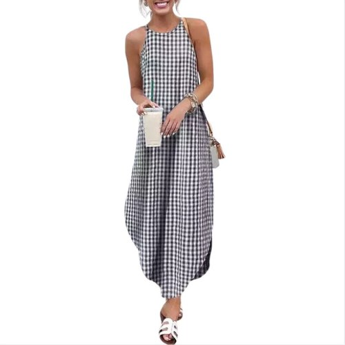 Women's Summer Fashion Round Neck Solid Color Dovetail Sling Dress