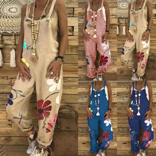 Women Plus Size Overalls Casual Loose Women Romper Dungarees Playsuit Flower Print Baggy Jumpsuit Bodysuits 2020