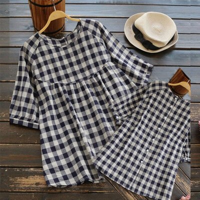 2021 Summer Fashion Casual Half Sleeve Blouse Pullover Button Tops Shirt Plaid Loose Women's Clothing durable Comfortable