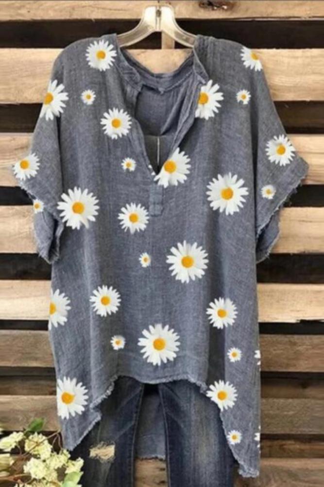Women Summer Short Sleeve Tunic Tops Vintage Shirt Robe Femme Print Blusas Plus Size Cotton Linen Blouse Chemise