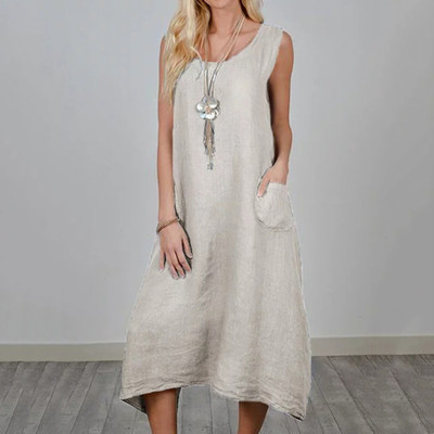 2021 New Sleevless Pocket Solid Loose Linen Cotton Maxi Dresses