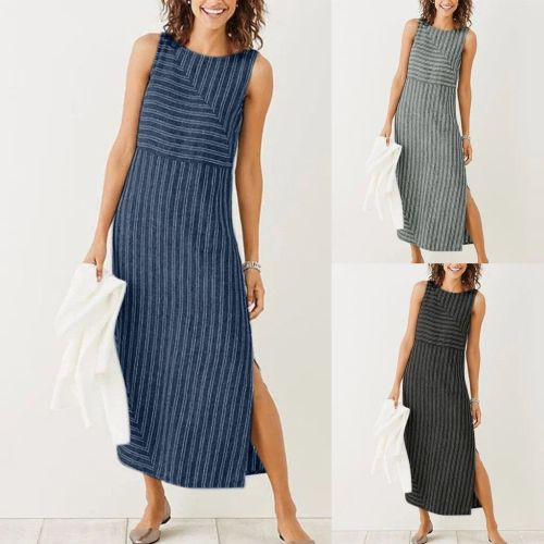 2021 New Geometric Stitching  Sleeveless Stripe Cotton Linen Maxi Dress