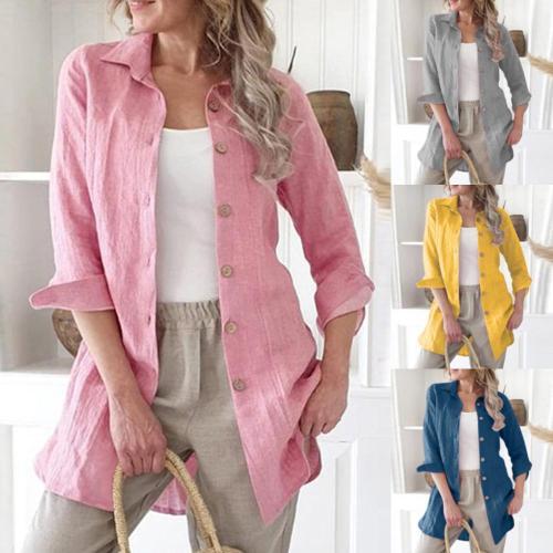 2021 Plus Size Women Cotton Linen Shirt 2019 New Casual Solid Long Sleeve Button Down Tops 4 Colours  Blouse Female