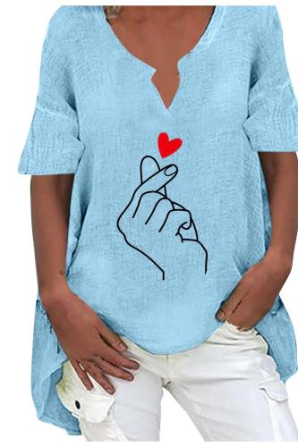 Blouses Women's Shirt Casual Heart Print Short Sleeve Plus Size Cotton And Hemp Top Blouse Women Clothing рубашка женская