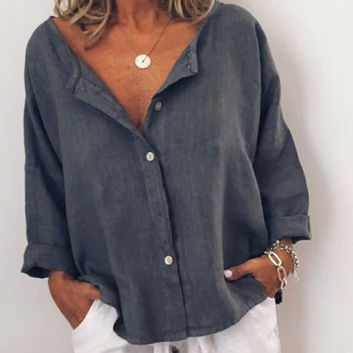 Women Vintage Long Sleeve Linen Loose Blouse Elegant Office Lady Casual Solid Button Shirts Streetwear Tops Tunic