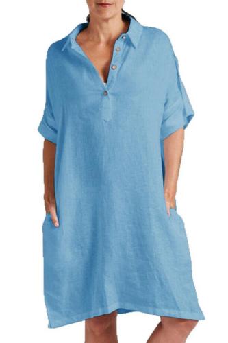 Fashion Summer Solid Cotton Linen Dress V-Neck Buttons Loose Pocket Swing Dress Womens Casual Beach Party Dress Vestido de festa