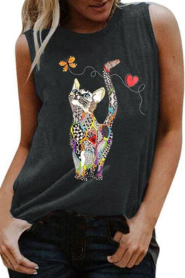 Womens Cute Cat Print Tanks Summer Sleeveless Loose S-3XL Vest Casual T-Shirt Female O-Neck Ropa Mujer Tee Clothes