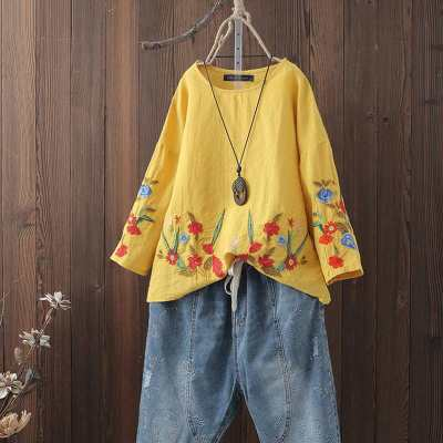Fashion Embroidery Tops Women's Summer Blouse 2021 ZANZEA Vintage Floral Linen Tops Female Long Sleeve Tee Shirts Casual Blusas