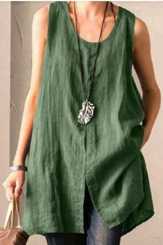 Summer Women Sleeveless Blouse Vintage Tanks Tops Cotton Linen Shirt Female Solid Loose Blusas Plus Size Split Tunic