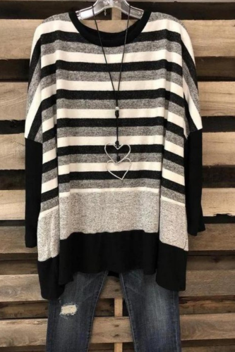 2021 Plus Size Women'S Long-Sleeved Round Neck Cotton Striped Loose Wild Pullover Black T-Shirt