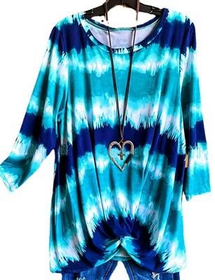2021 Summer Print Round Neck Short-Sleeved Pullover Thin Loose Long Version Blue Temperament Commuter T-Shirt
