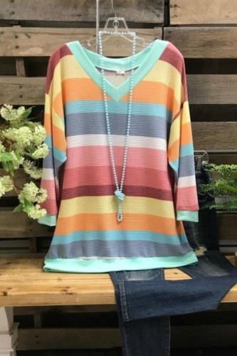 2021 Fall/Winter Plus Size Women'S Long-Sleeved Shirt Striped Loose Rainbow T Shirts