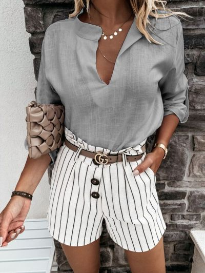 2021 Autumn Blouse Fashion Women Long Sleeve Cotton Linen Blouse Casual V Neck Loose Shirt Solid Pullover Top Femme Work Chemise
