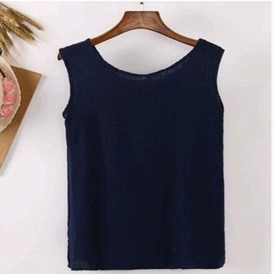 2021 Summer New Hot The Long All-match Simple Cotton Blouse Shirt Camis Vest
