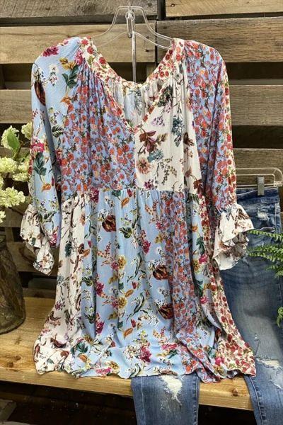 Vintage Women Patchwork Printed Chiffon Dress Flare Sleeve V Neck Loose Mini Dress Plus Size Dresses For Women 4xl 5xl 6xl