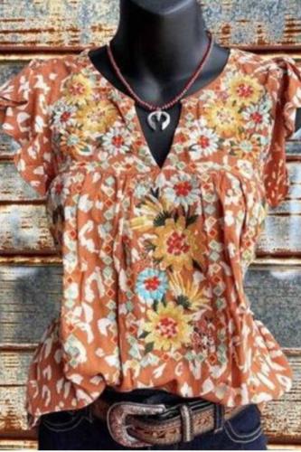 2021 Ethnic Casual Loose V-Neck Printed Shirt Short-Sleeved Shirts Blouse