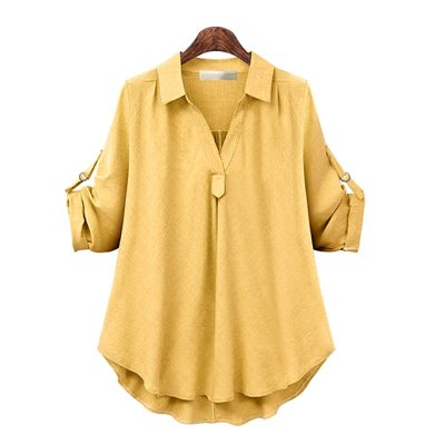 Plus Size 4XL 2021 Spring Blouse Women Casual Turn-down Collar Loose Solid Long Sleeve Office Ladies Shirts Tops Female Blouse