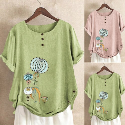 Summer New Casual T-Shirt Women Fashion Irregular Hem Flower Printing Elegant Tops Button Loose Plus Size 5XL O-Neck Cotton Tees