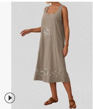 2021 Spring And Summer Retro Cotton And Linen Cardigan Shirt Sleeveless Cotton And Linen Round Neck Slim Cheongsam Dresses
