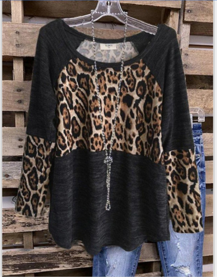 2021 Spring And Autumn Models Leopard Print Stitching Urban Casual Black Three-Quarter Sleeve Pullover Blouse Women T Shirts