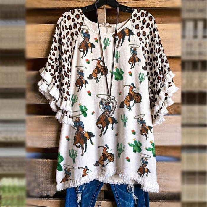 2021 Animal Printed Women Cotton T Shirts Leopard Patchwork V Neck Ruffle Sleeve Kawaii Ladies Tops Plus Size Loose Woman Tops