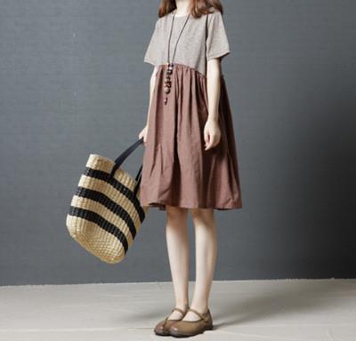2021 Summer New Korean Version Loose Plus Size Women'S Fashion Art Stitching Cotton And Linen Round Neck Short-Sleeved Dress