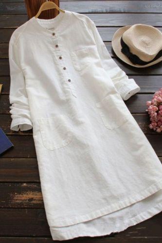 Women Vintage Long Sleeve Solid Mini Dress 2021 Autumn Cotton Linen Shirt Vestido Casual Long Top Blusas Robe Femininas