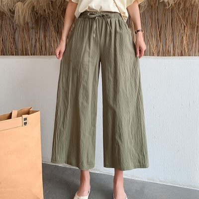 Soft Comfort Women Pants 2021 New High Waist Casual Summer Wide Leg Pants Women Cotton Linens Ankle-Length Long Trousers Female