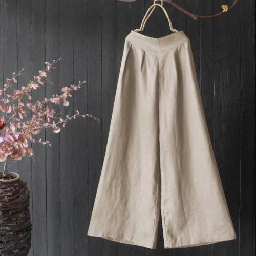 Spring Women High Waist Pants Literary Retro Casual Solid Color Linen Pants Elastic Waist Plus Size Comfort Nine Trousers Women