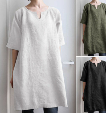 2021 Ladies Cotton And Linen Solid Color Literary Retro Chinese V-Neck Casual Top With Loose Shirt Bottom