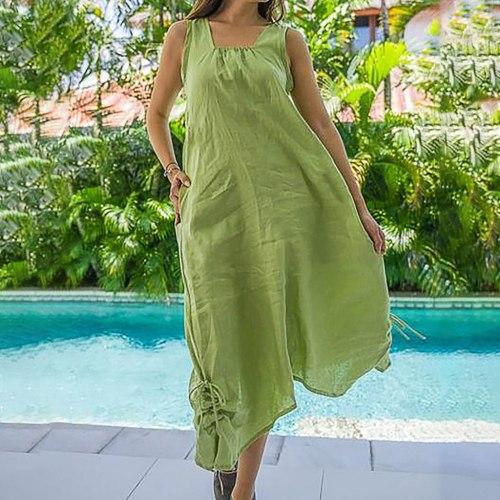 Women Summer Dress Plus Size Pure Color Linen Sleeveless Bandage Cotton And Linen Sandy Beach Sun Dress Plus Size Robe Femme