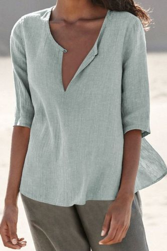 Plus Size Shirt 2021 Amazon Women'S Cross-Border European And American Spring And Summer New Solid Cotton And Linen V-Neck Blouse