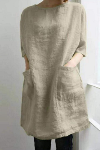 2021 Spring And Summer New Solid Color Cotton And Linen New Round Neck Pocket Sleeve Dress Short Cotton And Linen Dress