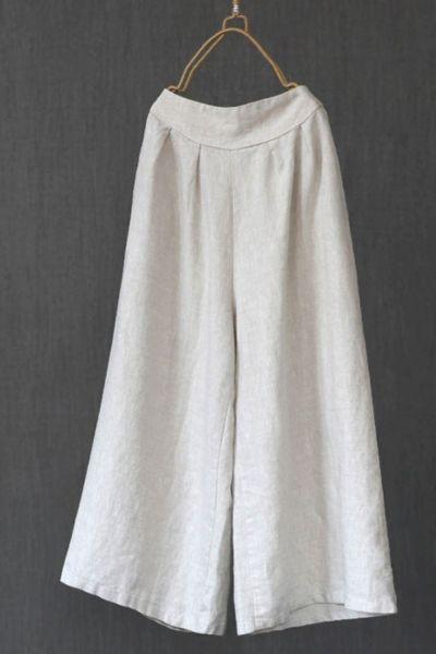 Spring Women High Waist Pants Literary Retro Casual Solid Color Linen Pants Elastic Waist Plus Size Comfort Nine Trousers Women