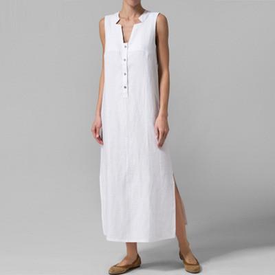 2021 Summer Sexy V-Neck Neck Sleeveless Dress Loose Cotton And Linen Dress