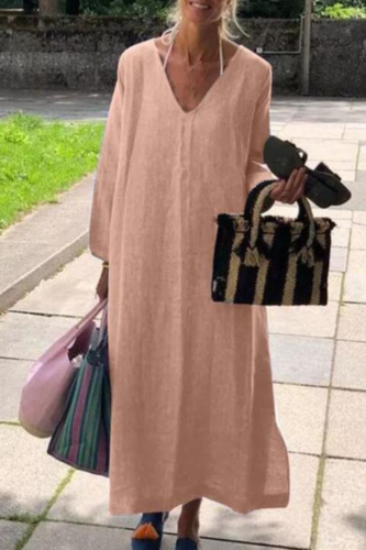 Plus Size Vintage Solid Maxi Dress Women's Spring Sundress ZANZEA 2021 Casual Long Sleeve Vestidos Female V Neck Baggy Robe 5XL