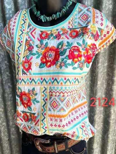2021 Summer Printed Round Neck Denim Top Pullover Loose Short Sleeve Ladies T-shirt