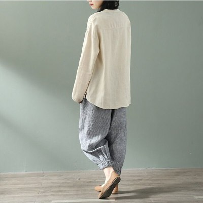 Spring Autumn New Arts Style Women Long Sleeve Shirts Solid Cotton Linen Loose Casual O-neck Blouse vintage Ladies Tops D435