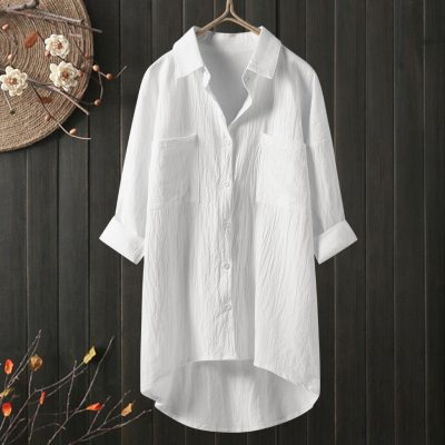 Women Shirt Casual Linen Womens Tops And Blouses Long Sleeve Button Down Shirts Female Elegant Solid White Black Shirts