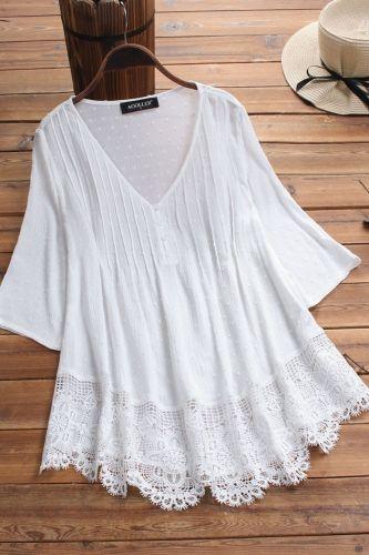 Lace Patchwork Cotton Linen Shirt Women V Neck Short Sleeve Pullover Womens Tops Summer Plus Size Loose Female Shirts Vintage