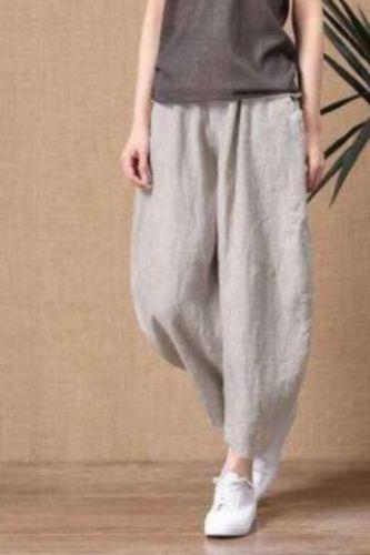 2021 Women Summer Pants Cotton Linen Pants Loose Wide Leg Vinatge Casual Ankle Length Trousers Ladies Elastic Waist Plus Size