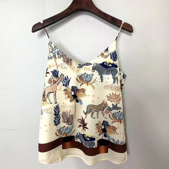 2021 National Style Spring Summer Women Sexy Spaghetti Strap Tank Top Vintage Print Camis Femme chiffon V Neck Tops S808