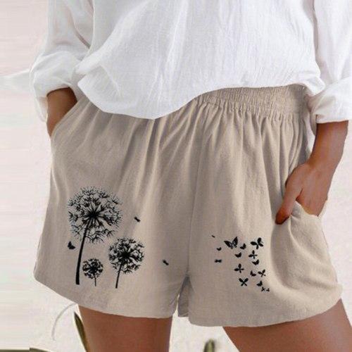 5XL Women Cotton Linen Casual Shorts New Summer High Waist Pocket Loose Short Vintage Dandelion Butterfly Print Shorts Streetwea