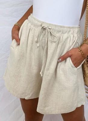 Cotton And Linen New 2021 Amazon Summer High Waist Thin Loose Loose Pocket Elastic Shorts